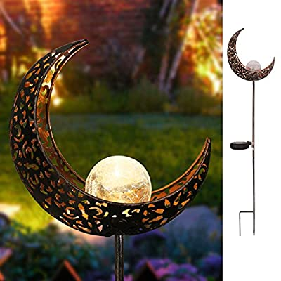 "Homeimpro Garden Solar Lights Pathway Outdoor Moon Crackle Glass Globe Stake Metal Lights,Waterproof Warm White LED for Lawn,Patio or Courtyard (Bronze) - This solar powered garden light charges during day (ensure the switch is in ""ON"" position) and turn on automatically at night for up to 6 hours when full charged. Design with Warm White LED.The reflection of the pattern is beautiful enough to create a romantic atmosphere. Measure:7.5""x3""x30.5"".Made of metal and glass,it look like moon staff .Great for decorating your pathway,garden,lawn or courtyard. - patio, outdoor-lights, outdoor-decor - 51emkrCAWVL. SS400  -"