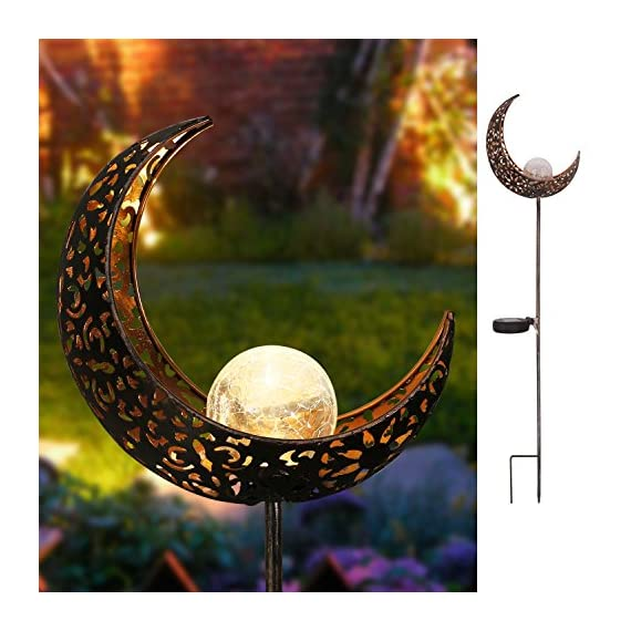 "Homeimpro Garden Solar Lights Pathway Outdoor Moon Crackle Glass Globe Stake Metal Lights,Waterproof Warm White LED for Lawn,Patio or Courtyard (Bronze) - *****Homeimpro is the only seller for this solar lights*****This solar powered garden light charges during day (ensure the switch is in ""ON"" position) and turn on automatically at night for up to 6 hours when full charged. Design with Warm White LED.The reflection of the pattern is beautiful enough to create a romantic atmosphere. Measure:7.5""x3""x40"".Made of stainless steel and Glass,it look like moon staff .Great for decorating your pathway,garden,lawn or courtyard. - patio, outdoor-lights, outdoor-decor - 51emkrCAWVL. SS570  -"