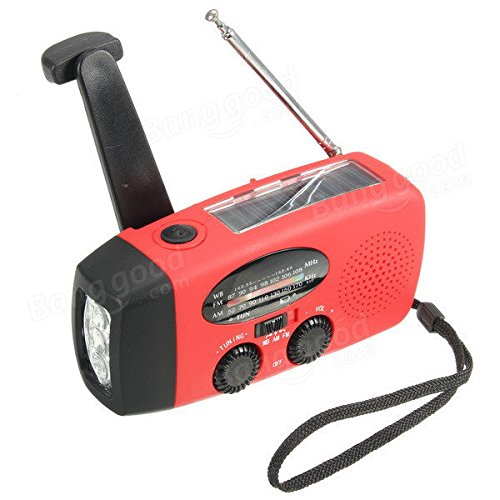 Media Players Speakers & Radios - Emergency Solar Crank Wind Up 3 LED Flashlight Torch AM FM Radio Charger