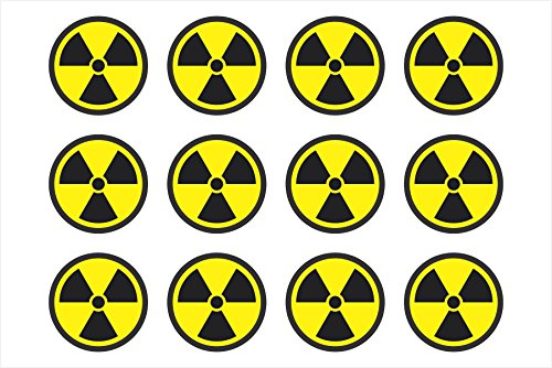 Graphics and More Radiation Nuclear Symbol Sheet of 12 - Window Bumper Sticker