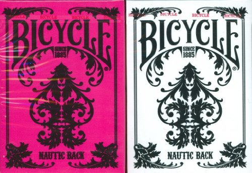 2 Set Collector Card (Bicycle Nautic Back Playing Cards 2 Deck Set in White & Pink)