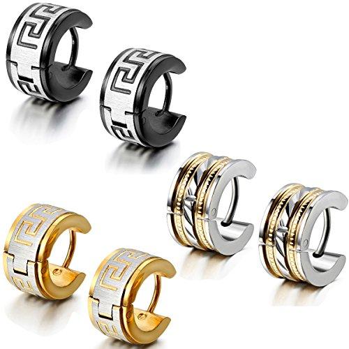 Aroncent 6PCS Stainless Steel Hoop Huggies Stud Earrings for Men and Women Black Gold Ear Stud (Spike Earring Hoop)