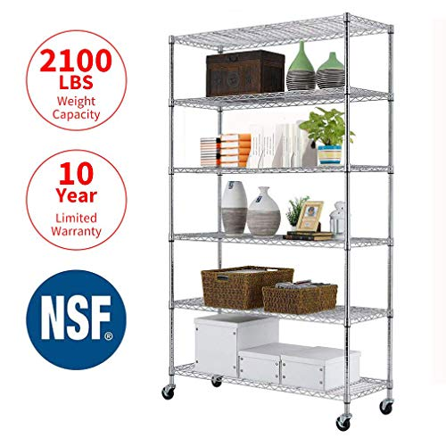 "Storage Metal Shelf 6 Tier 82""x48""x18"" Wire Shelving Unit with Wheels Sturdy Steel Layer Rack with Casters Heavy Duty for Restaurant Garage Pantry Kitchen Space-Saving Overall Chrome Kitchen Rack from Meet perfect"