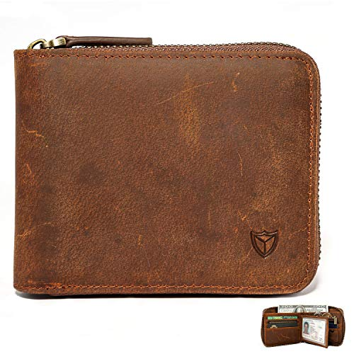 RFID Men's Leather Zipper wallet Zip Around Wallet Bifold Multi Card Holder Purse (Vintage ()