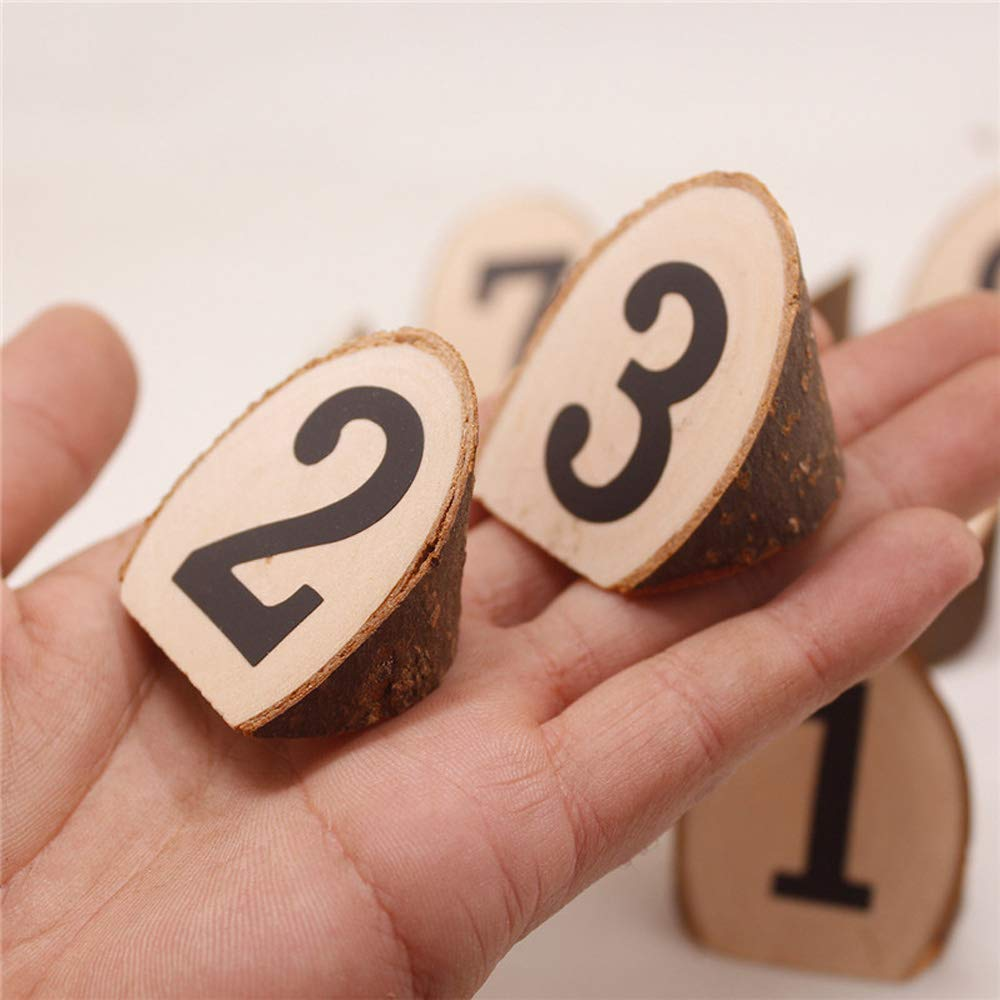 T-shin Wooden Table Number,1-10 Rustic Wood Section,Wedding Party Home Christmas Decoration,Vintage Decor Catering Reception for Birthday Event Banquet Anniversary,10 Pack