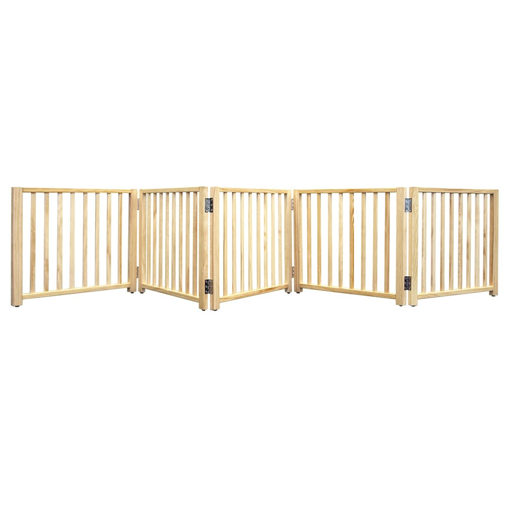 Four Paws Expandable Dog Gate Wood Gate for Dogs 5-Panel