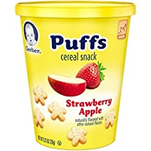 Gerber Puffs Strawberry Snack Cup, 0.70 Ounce,8 Count