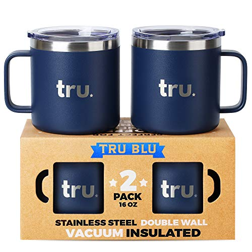 Large Camping Mugs with Lids 16oz, Set of 2 Vacuum Insulated Travel Cups, Stainless Steel Metal Mugs - Outdoor, RV, Hiking, Boating, Portable, BPA Free]()