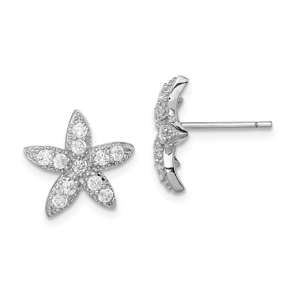 FB Jewels Solid Sterling Silver Rhodium-Plated CZ Cubic Zirconia Starfish Post Earrings