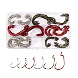 Croch 150 Pack Offset Worm Hooks 6 Size #1, 1/0, 2/0, 3/0, 4/0, 5/0