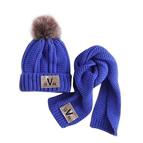 D'hiver Tricoté Set Garçons Chaud Enfants Mignonne Écharpe Filles Acmede Chapeaux Bébés Bleu Costume AwBqAx