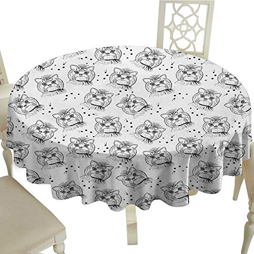 Black and White Printed Tablecloth Cute Dog Pattern with Buckle and Collar Monochrome House Pet Illustration Desktop Protection pad D43.3 Inch Black White