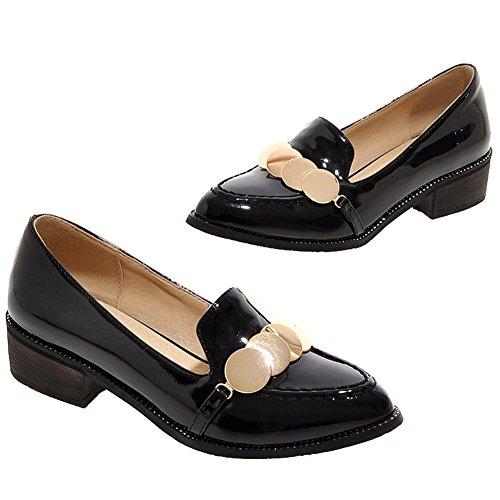 ENMAYER Mujeres Cuadrado Hermoso Con la Selección de Antideslizantes Súper Brillante Caramelo Zapatos de la Manera Ocasional negro