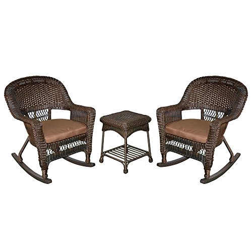 Jeco W00201R-A_2-RCES007 3 Piece Rocker Wicker Chair Set with Brown Cushion, Espresso