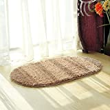 Hihome Rubber Back Ellipse Oval Door Non-Skid/Slip Rug Solid Color Interior Entrance Decorative Door Mats Bathroom Rugs
