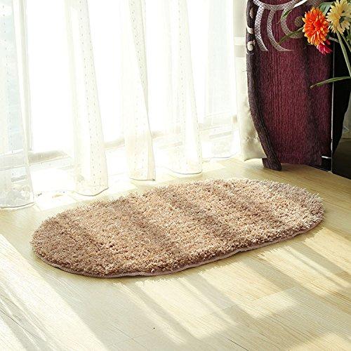Hihome Rubber Back Ellipse Oval Door Non-Skid/Slip Rug Solid