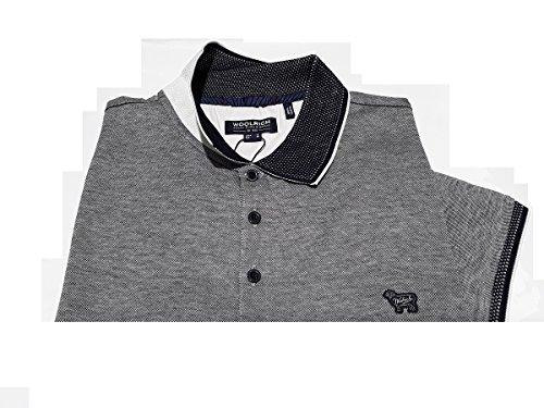 Grigio Jersey Corta Melange In Polo Collo Piquet Manica 3126 Scozia Contrasto 100 blu Oxford Woolrich Wopol0484 Cotone Blue Filo Di Micro Grey Uomo Bicolore 0wUaS0zq