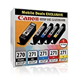 Canon PGI-270 Black and CLI-271 B/C/M/Y Black and Color Ink Cartridges, Combo 5/Pack