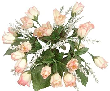 Artificial Flowers Mini Rose Bud With Raindrops, Pink/Cream