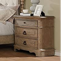 Roundhill Furniture B296N Piraeus 296 3 Drawers White Wash Night Stand
