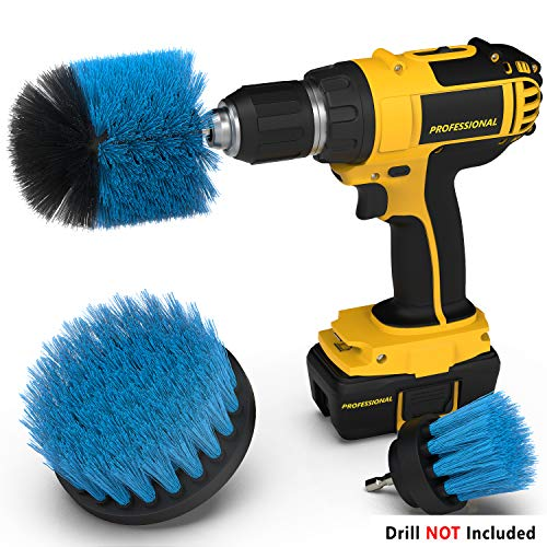 Drill Attachment Power Scrubber – Turbo Scrub Kit of 3 Scrubbing Brushes – All Purpose Shower Door, Bathtub, Toilet, Tile, Grout, Rim, Floor, Carpet, Bathroom and Kitchen Surfaces (Hand Basin Set)