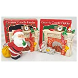 Vintage Night Before Christmas Fireplace Ceramic Candle Holders Gift Bundle Set of 2 [2 Piece]