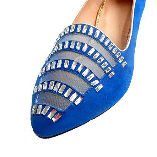 Schuhe Spitz Nubukleder Damen Zehe Eingelegt Pumps auf Ziehen Blau Niedriger AllhqFashion Absatz xpBSUqw