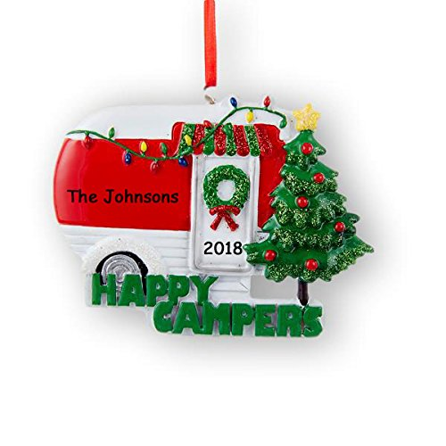 Personalized Happy Campers with Glitter Christmas Ornament with Name and Date