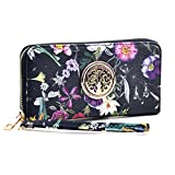 Women Fashion Floral Vegan Leather Wallet Purse for Women Credit Case Wristlet Wallet (1-Black Flower new)