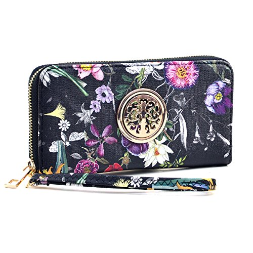 Women Long Wallet Lady Saffiano Leather Floral Print Wristlet Purse Zipper Organizer Card Cellphone Holder by MKY