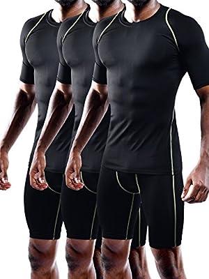 Neleus Men's Quick Dry Workout Compression Shirt Pack of 3