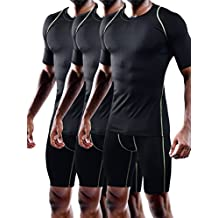Neleus Men's 3 Pack Dry Fit Athletic Compression Short Sleeve Shirt
