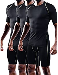 Men's Quick Dry Workout Compression Shirt Pack of 3