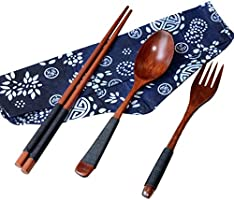 FORESTIME Japanese Wooden Chopsticks Spoon Fork Tableware 3pcs Set New Gift (Gold, 1 Set) (Brown, 1 Set)