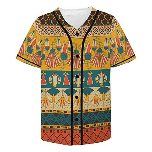(InterestPrint Ancient Egyptian Ornament Tribal Baseball Jersey Short Sleeve Print Tees for Men M)