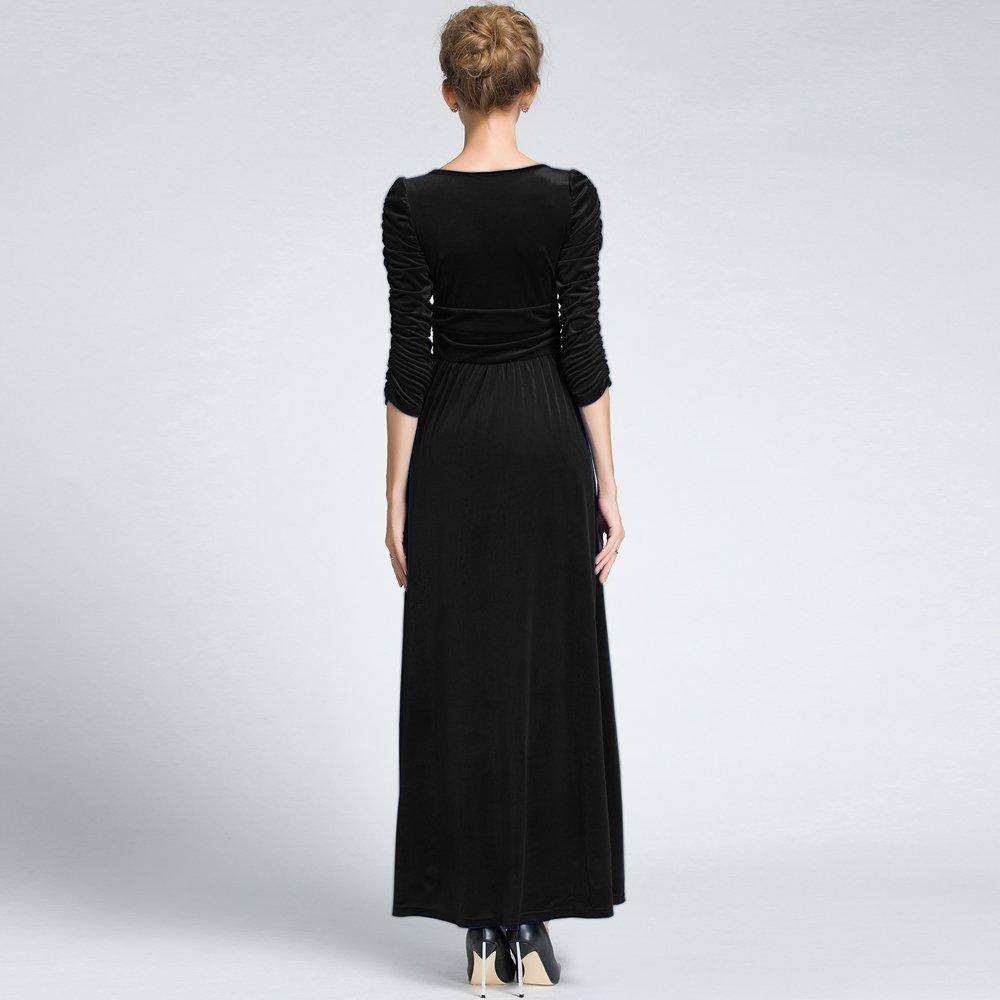 b53cf56253b MedeShe Women s Christmas Long Sleeve V Neck Velvet Maxi Dress at Amazon  Women s Clothing store