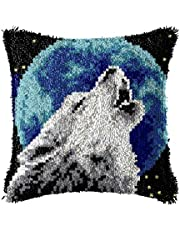 LAPATAIN Latch Hook Kits for DIY Throw Pillow Cover,Needlework Cushion Cover Hand Craft Crochet for Great Family 15.7X15.7inch Wolf(Moon)