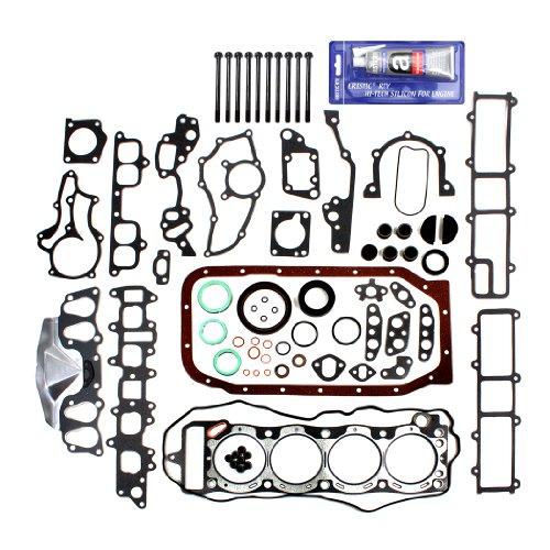 NEW EF027C1HBSI Brand New OE Replacement Graphite Engine Full Gasket Set (Head & Lower Conversion Gasket Set) + Cylinder Head Bolt Kit + RTV Gasket Silicone Sealant for Toyota 2.4L Pickup 4Runner Celica 4-Cylinder 22RE 22REC SOHC (8-Valve) Engine 1985-95