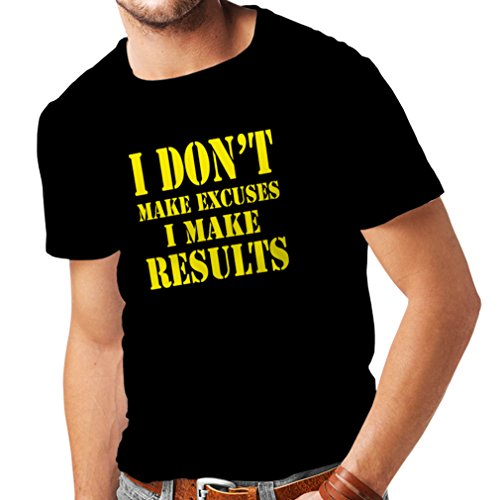 T Shirts for Men I Make Results - Lose Weight Fast Quotes and Muscle Builder Motivational Sayings (X-Large Black Yellow)