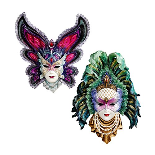 Design Toscano Inc Maidens of Mardi Gras Wall Mask Sculptures: Butterfly (Authentic Mardi Gras Masks)