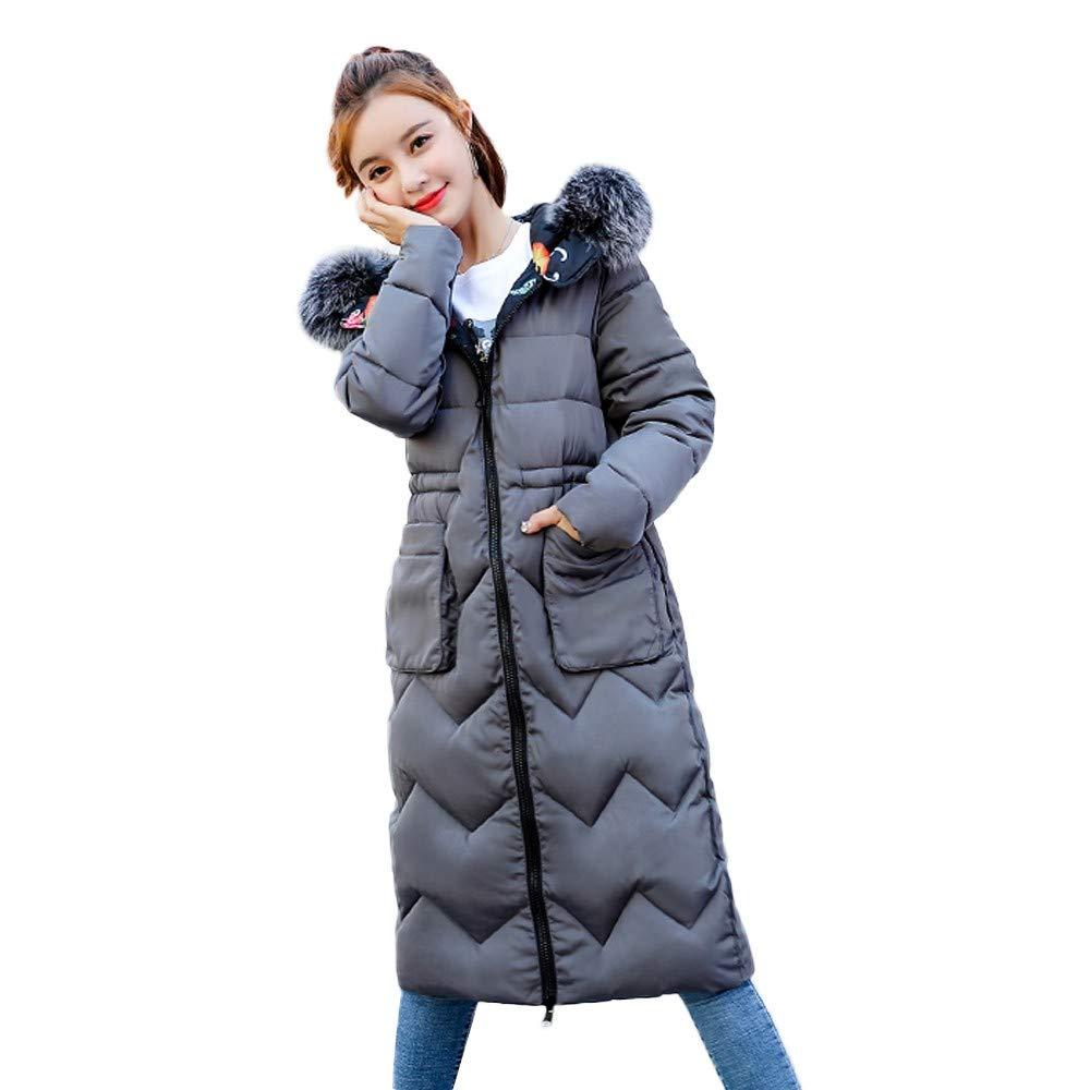 Warme Lang Mantel Damen Briskorry Frauen Dicker Wintermantel