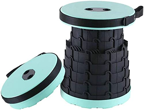 Lichen Cottage Retractable Folding Stools – Portable Telescoping Stool – Sturdy Folding Camping Stool – Holds up 330 Lbs Tiffany Blue Black