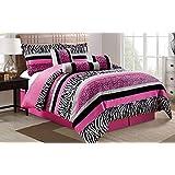5 Piece Oversize HOT PINK Black White Zebra Leopard Micro Fur Comforter set Twin Size Bedding - Teen, Girl, youth, Tween, Children's Room, Master Bedroom, Guest Room