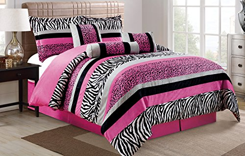 - 7 Piece Oversize HOT PINK Black White Zebra Leopard Micro Fur Comforter set Full Size Bedding - Teen, Girl, youth, Tween, Children's Room, Master Bedroom, Guest Room