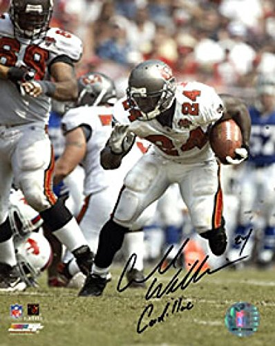 Carnell Cadillac Williams Autographed Running With the Ball 8x10 Photo - Autographed NFL Photos - Cadillac Williams Autographed Photo