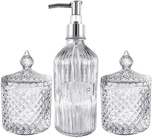 Magcolor Glass Jar Bathroom Accessories Set - Hand Soap Dispenser and Qtip Holder Set 3 pc