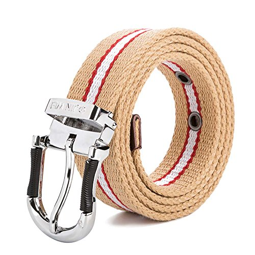 BULUOLANDI Men's Single Pin Buckle Leisure Canvas Belt 60inch color