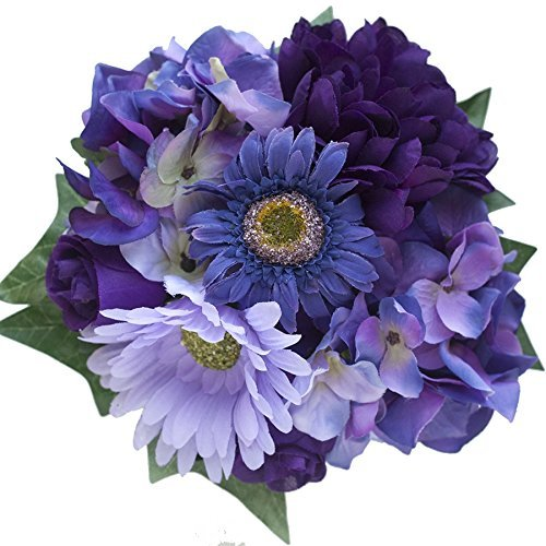 Purple Shades Hydrangea and Daisy Silk Flowers Centerpiece - Wedding Flowers by BalsaCircle