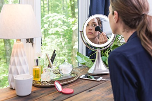 """51empArXfcL - iHome All-In-One, 7X MAGNIFY, 9"""" 2-Sided LED Makeup Mirror, Bright LED Light Up Mirror, Natural Light, Double-sided Vanity Mirror, Hands-Free Bluetooth Speakerphone, Bluetooth Audio & Phone Charger"""