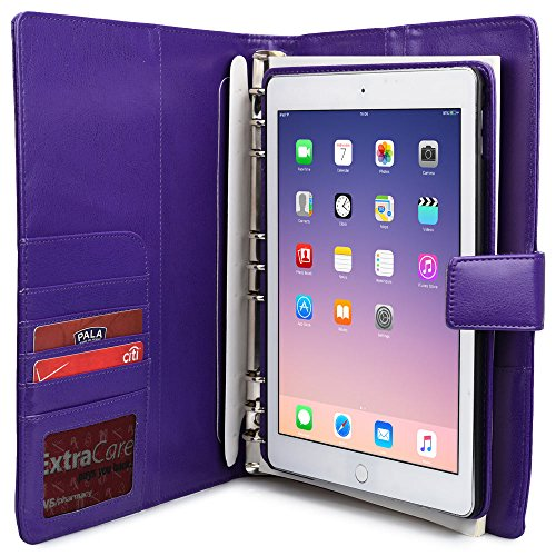 iPad Air 2 Case with Notepad, COOPER FOLDERTAB Business Travel Luxury PU Leather Carrying Portfolio Protective Case Cover with Paper Notebook & Card Pocket for Apple iPad Air 2 (Purple) (Top Ipad Air 2 Cases compare prices)